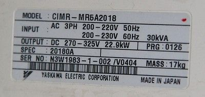 Used Yaskawa CIMR-MR5A2018 DC Spindle Inverter Drive 10312