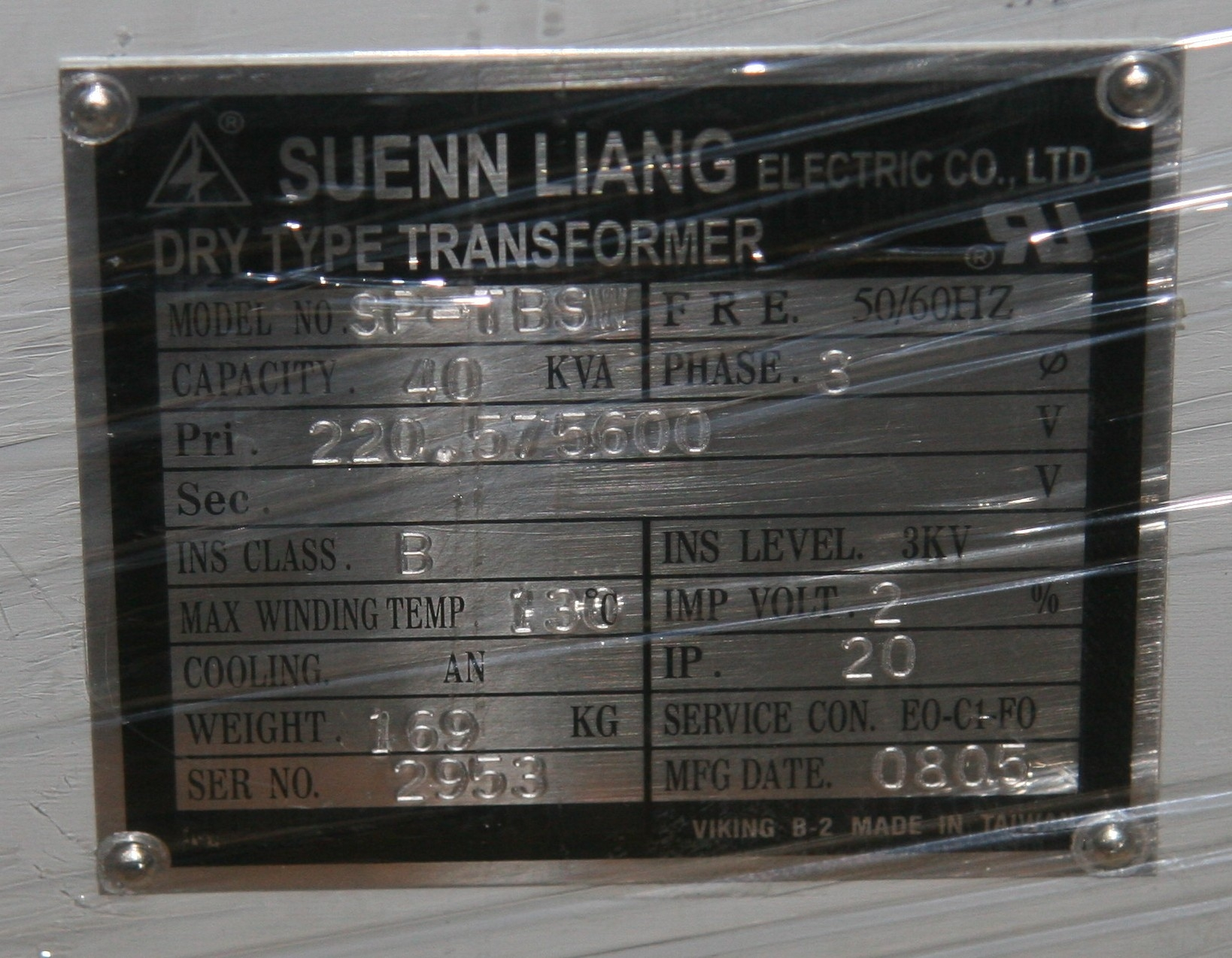 (1) New Other Suenn Liang SP-TBSW Dry Type Transformer 10425