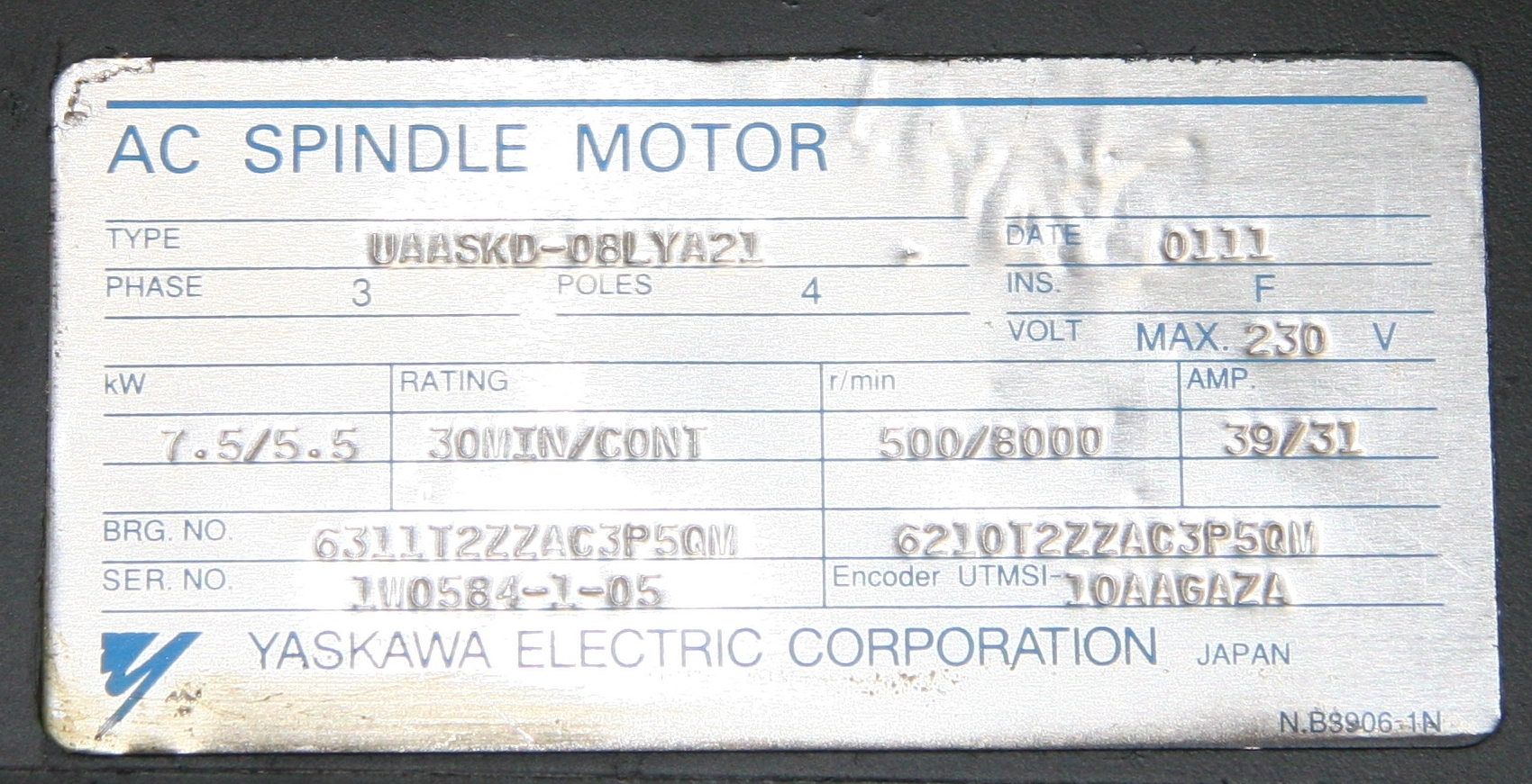1) Used Yaskawa Electric Corp  UAASKD-08LYA21 AC Spindle