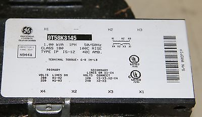 Old Stock GE 9T58K3145 Core & Coil Transformer 1.00 KVA; 200/220 Input