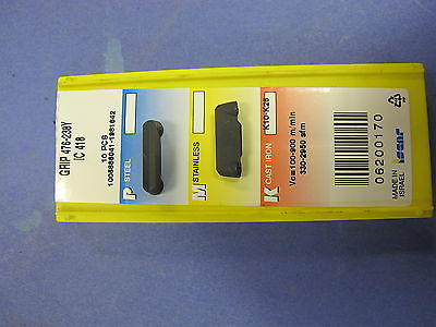 10 Unused iscar GRIP 476-238Y IC418 Turn-Groove Inserts