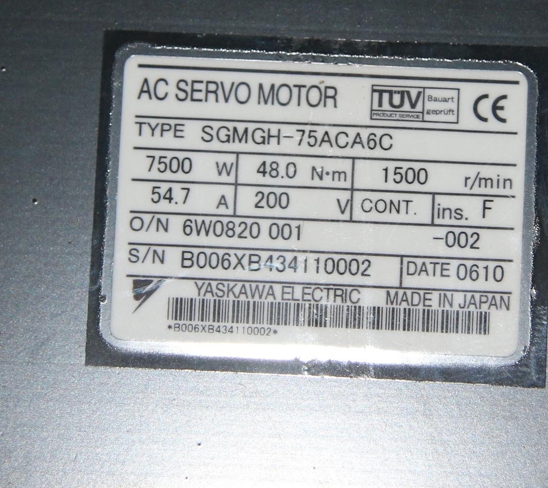 (1) New Yaskawa SGMGH-75ACA6C AC Servo Motor 14972
