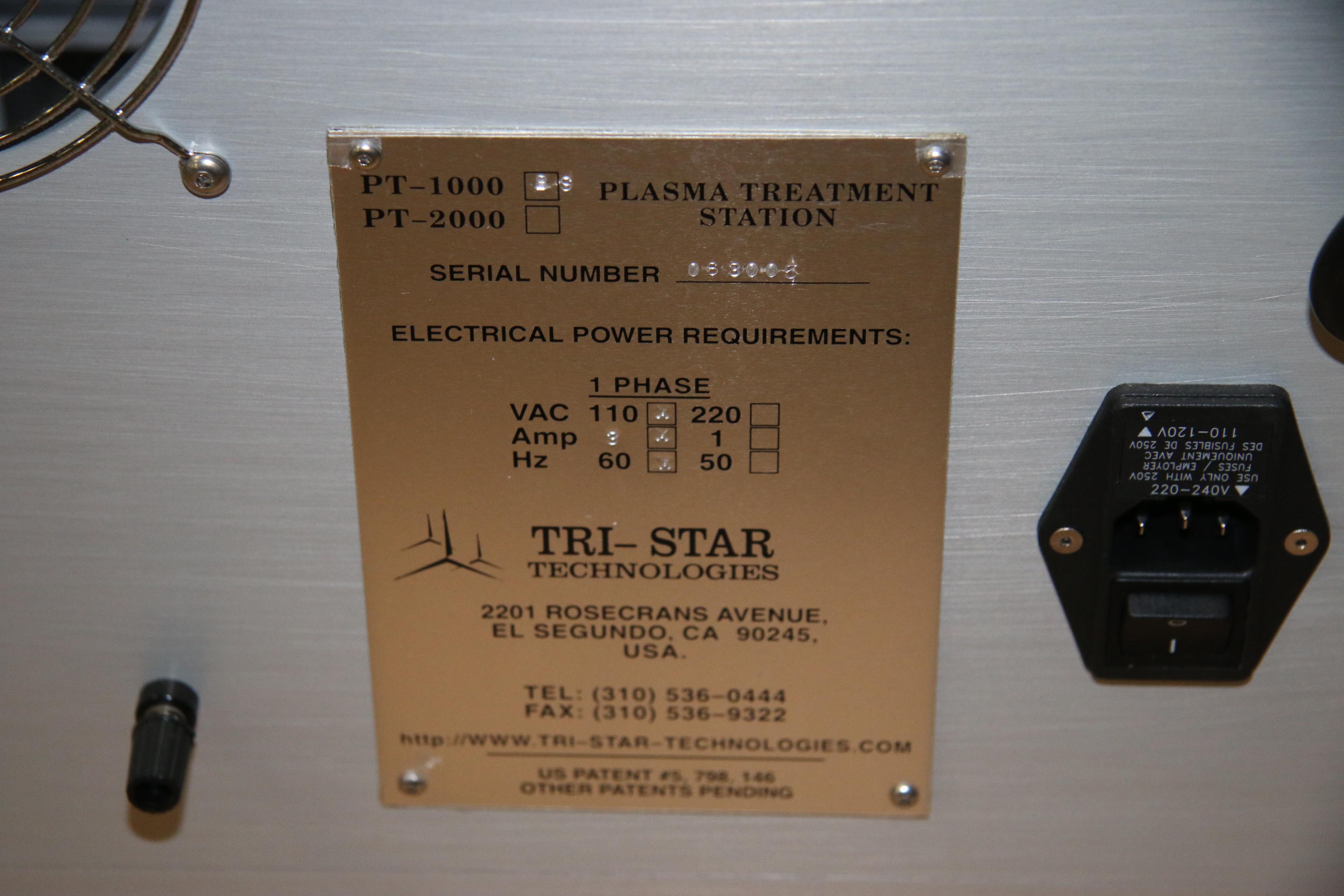 (1) Used Tri-Star Technologies PT 1000 Plasma Treatment Station 15718