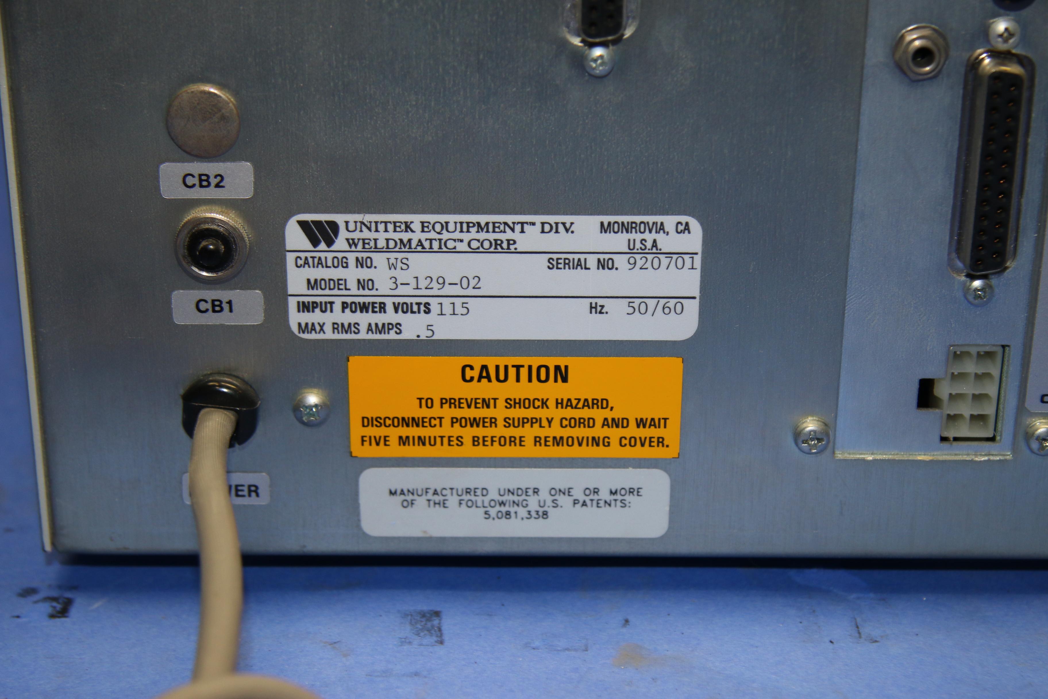 (1) Used Unitek Weld Sentry 3-129-02 Welder 16203