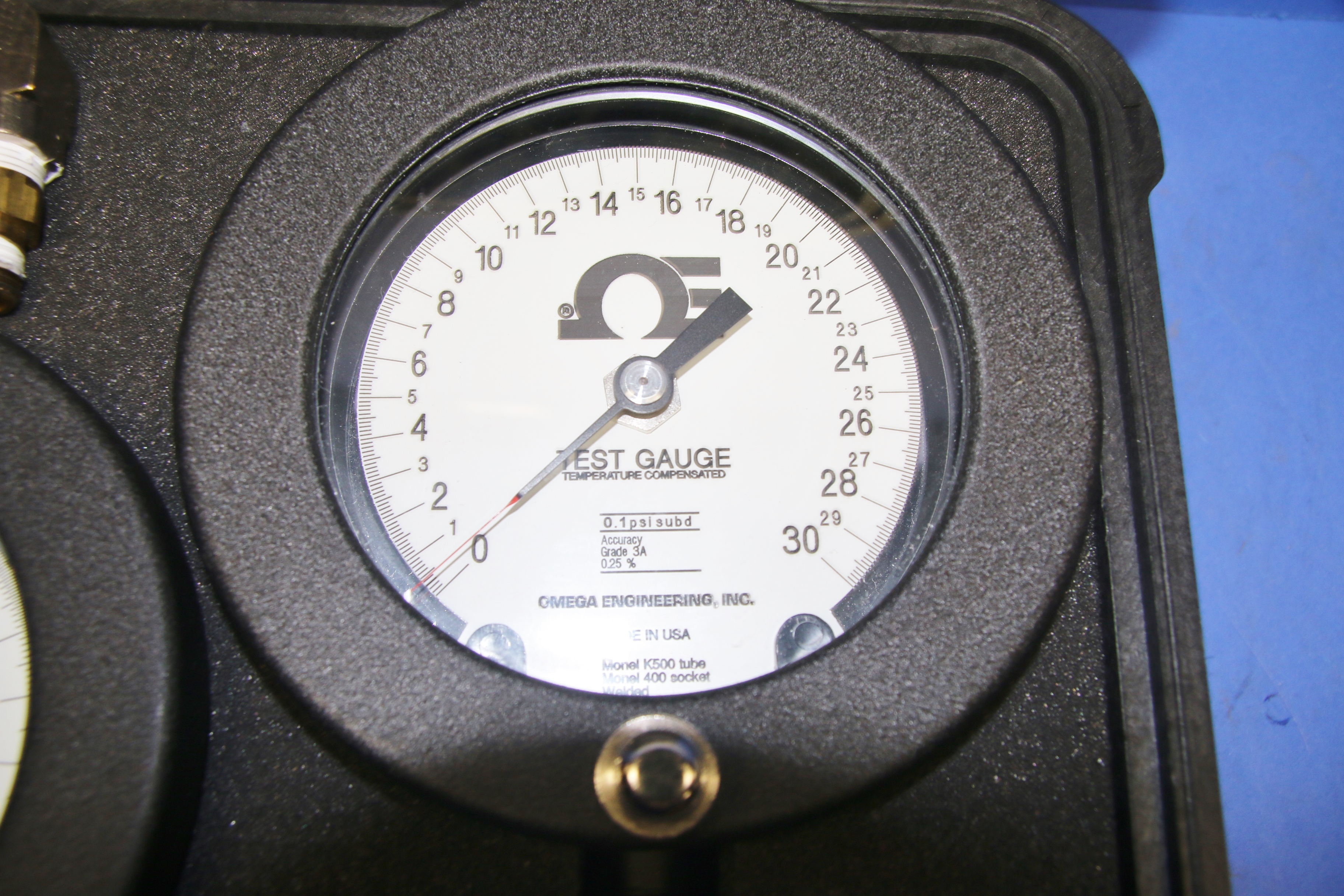 (2) Used Omega Test Gauges .01 PSI Subd  Grade A .25 with Pelican Case 16207