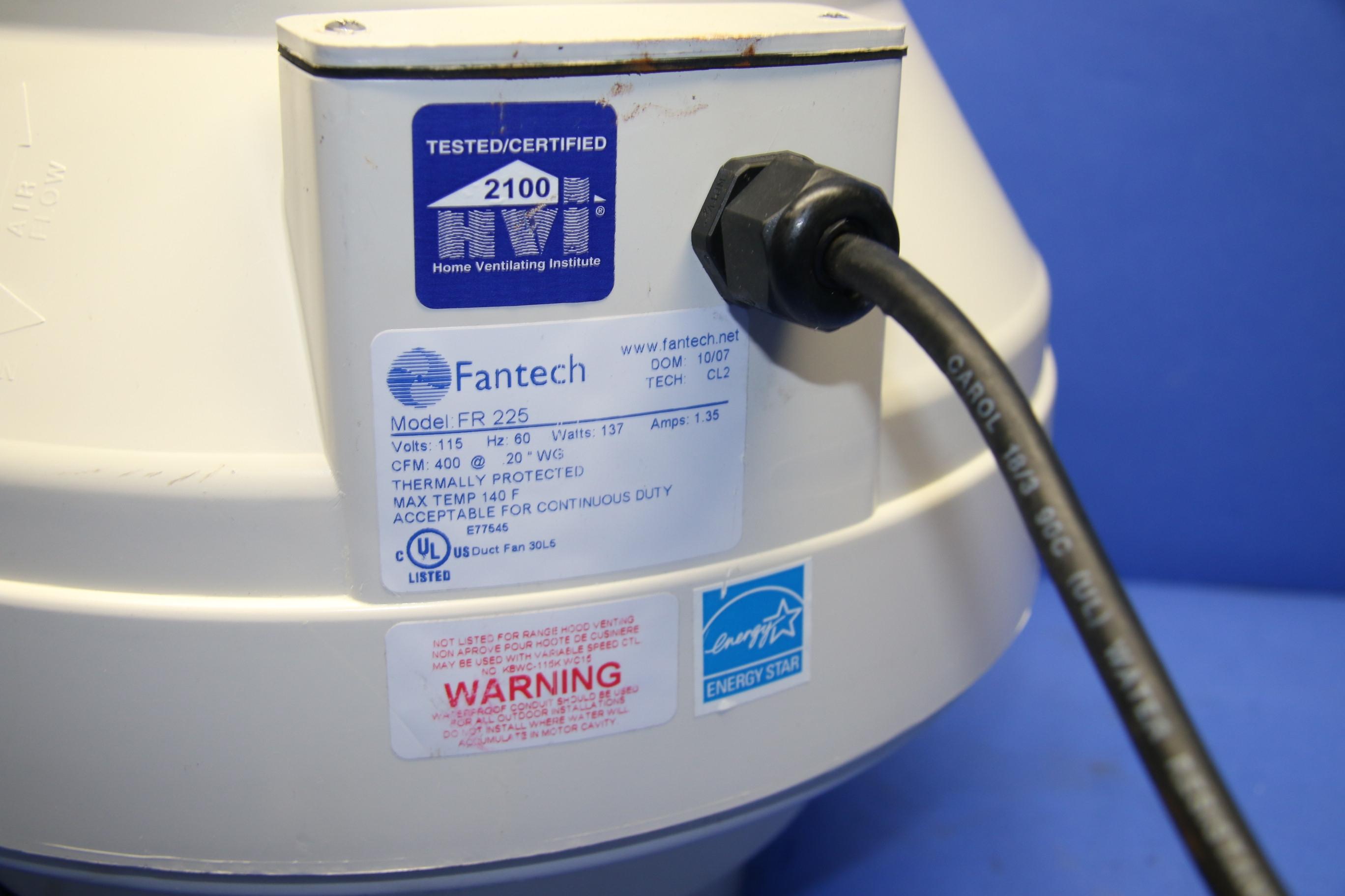 (1) Used Fantech FR225 115 V 60 Hz 137 W 1.35 A Centrifugal Duct Fan 8″ Diameter