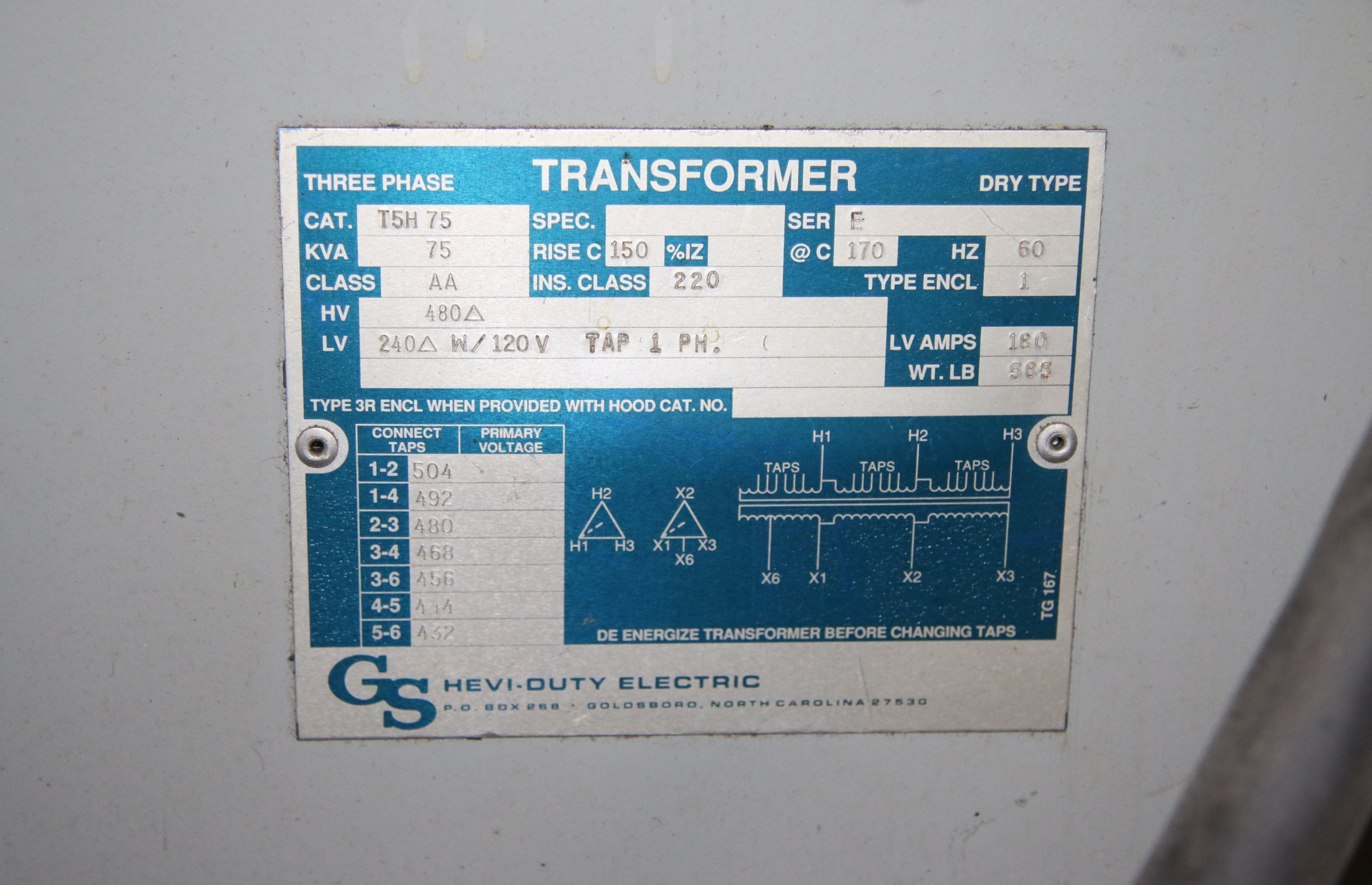 (1) Used GS Hevi Duty Electric T5H 75 Three Phase Transformer 17317