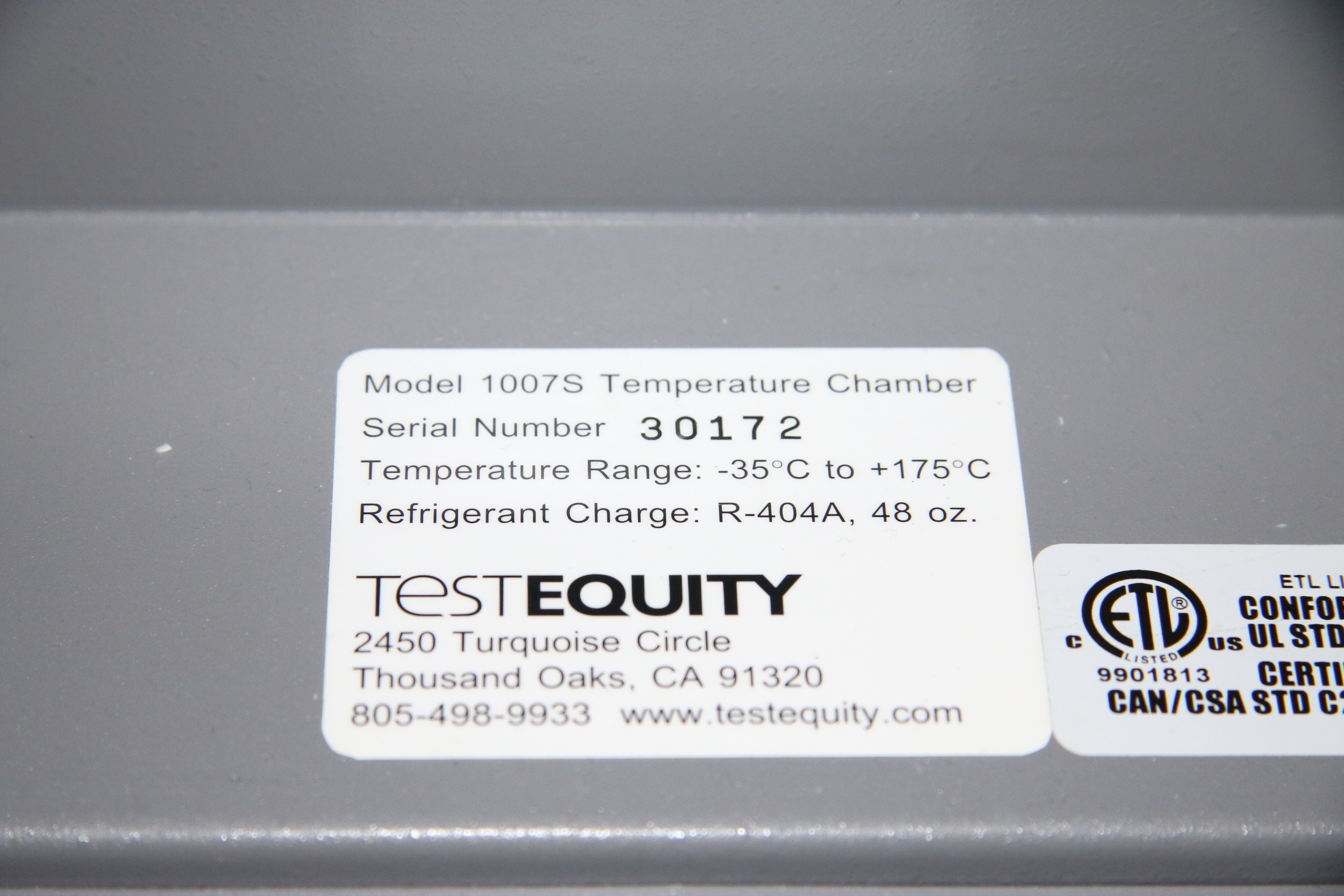 Used TestEquity 1007S Temperature Chamber Environmental Chamber 17458