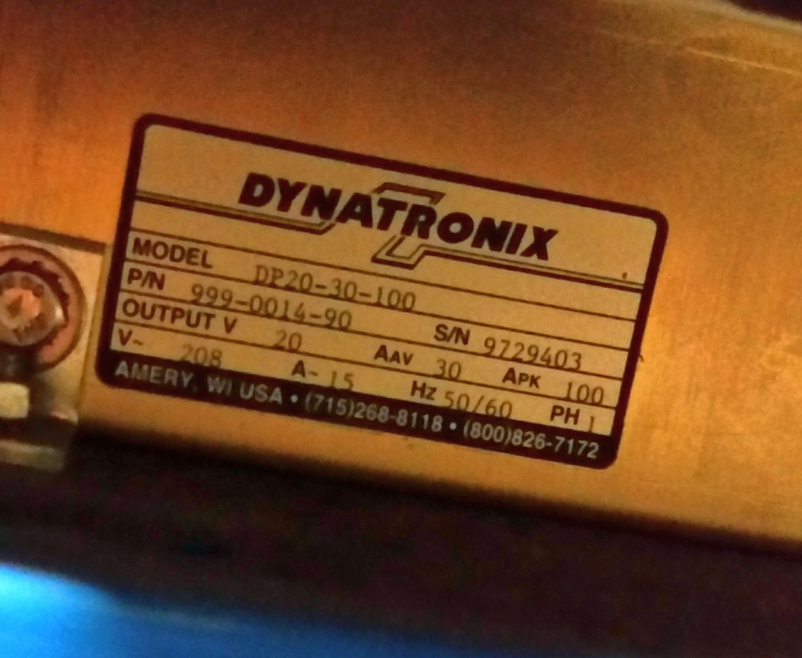 (1) Used Dynatronix DP20-30-100 Pulse Power Supply 8238