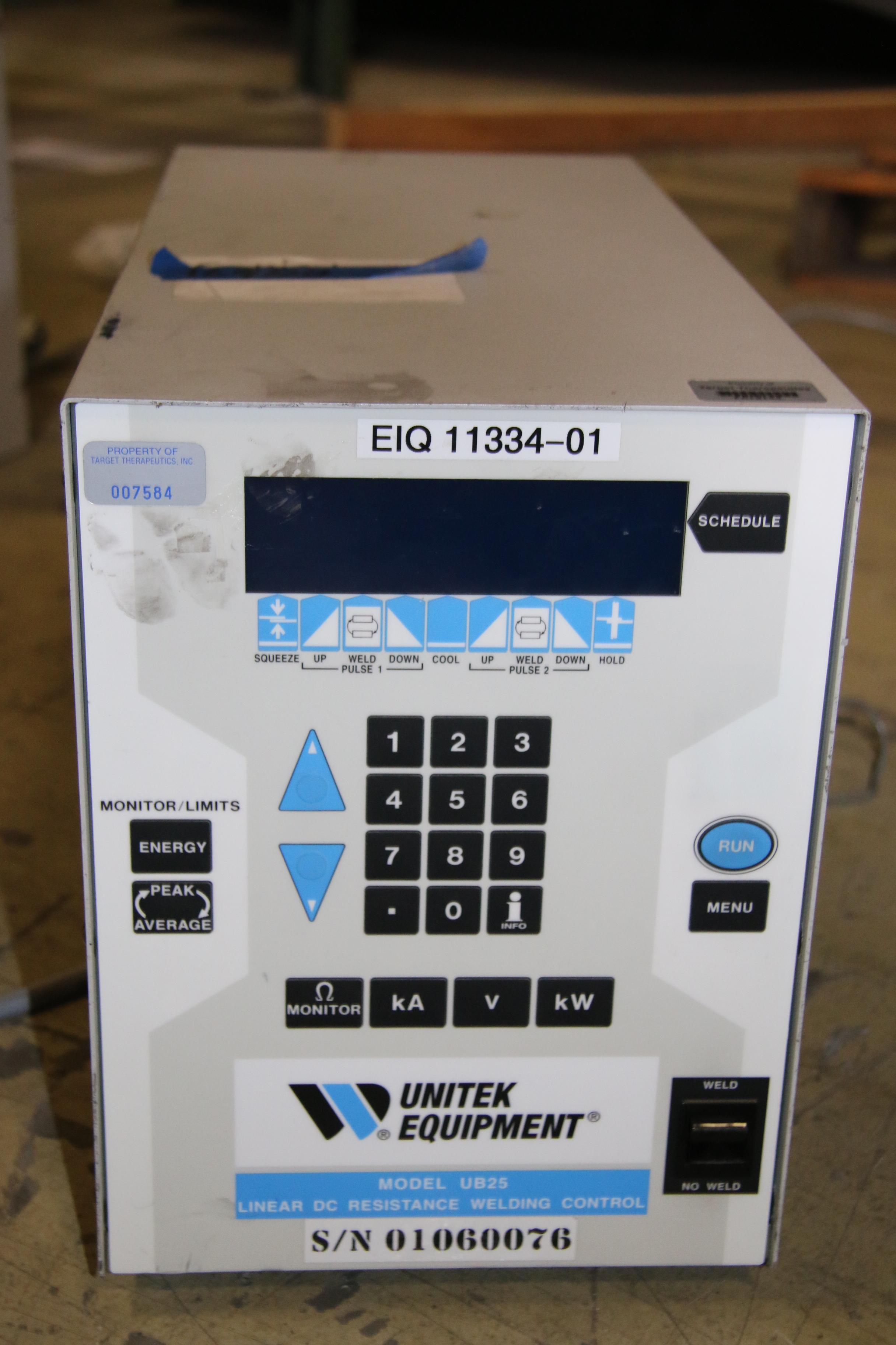 (1) Used Unitek Equipment Model: UB25 Linear DC Resistance Welding Control